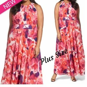 Dresses & Skirts - Plus Size Pink Floral Print Flare Maxi Dress